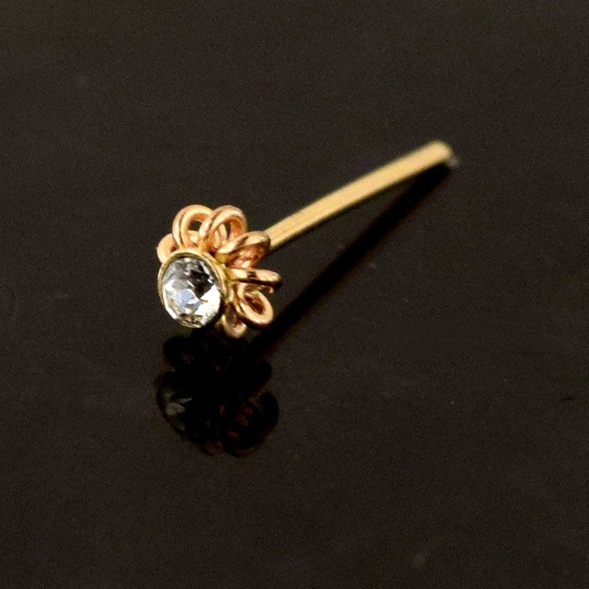 Thin Nose Ring 22 Gauge Nose Ring Nose Bone Style Dainty Nose Stud 9ct Gold Nose Stud Butterfly Nose Stud