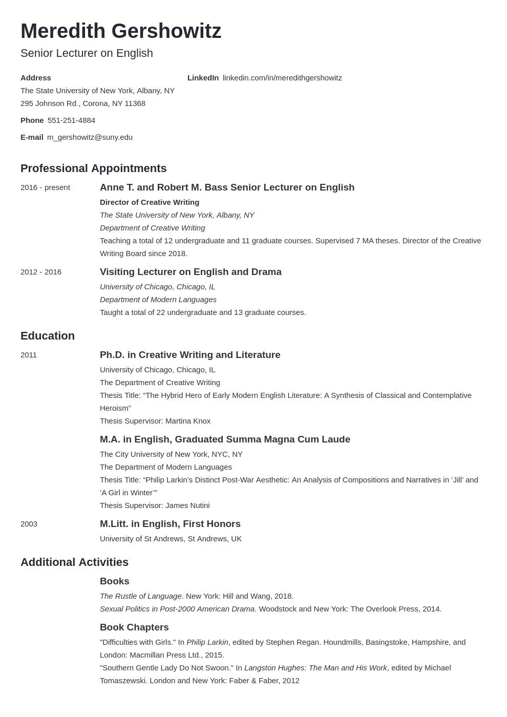 Academic Cv Example Template Minimo Academic Cv Curriculum Vitae Template Curriculum Vitae