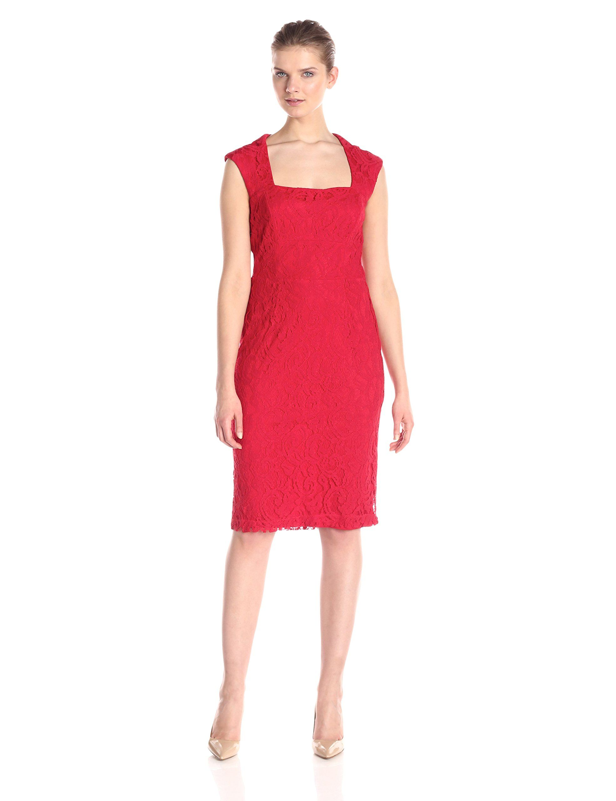 f0972928b52 Donna Ricco Womens Extended Shoulder Lace Sheath with Square Neck Red 12 --  Check this