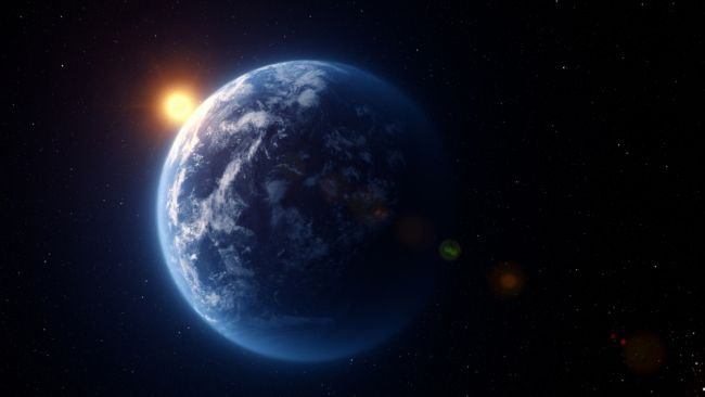 A CGI image of Kepler 22b the first habitable zone