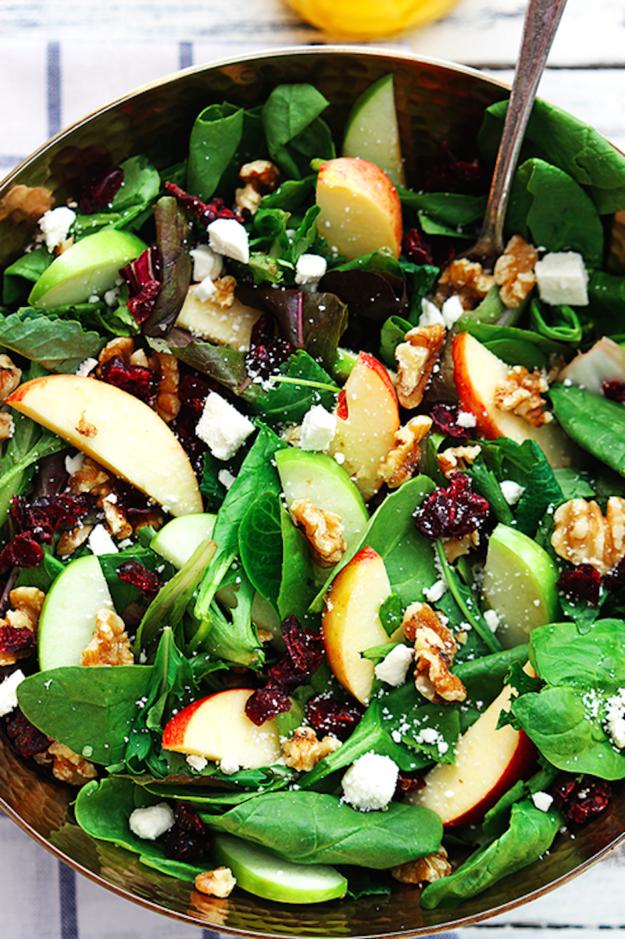 Apple Cranberry Walnut Salad Healthy Thanksgiving Recipes