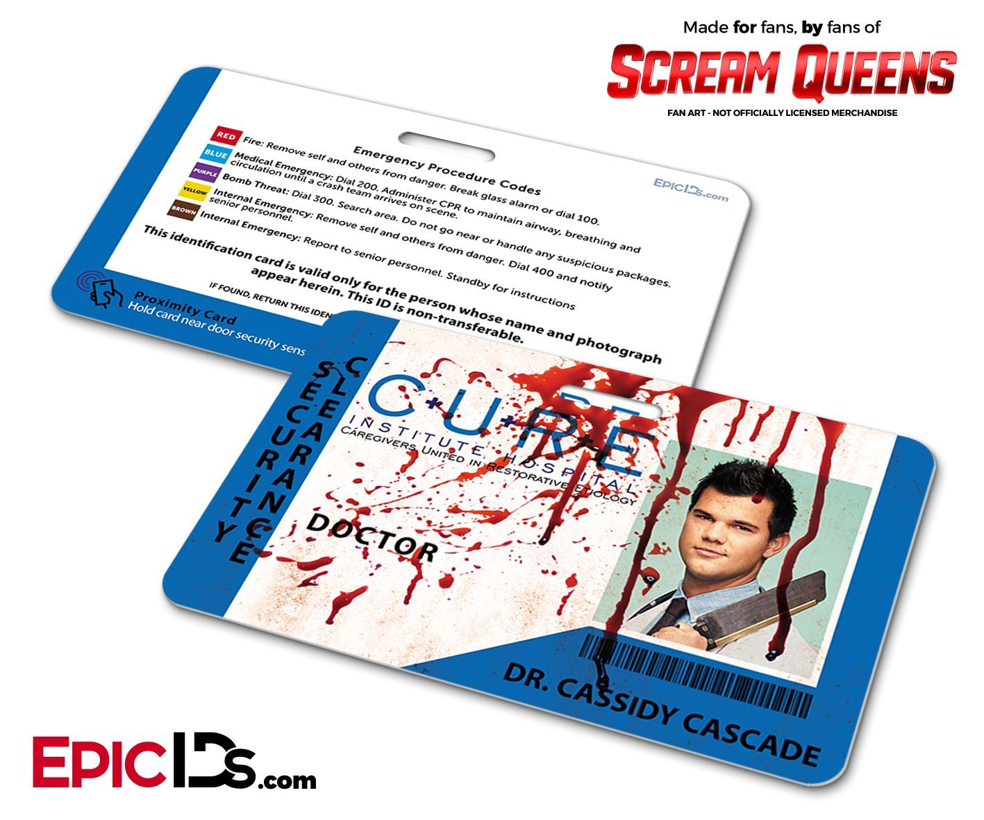 C.U.R.E. 'Scream Queens' Hospital Cosplay Employee ID Name Badge - Dr. Cassidy Cascade