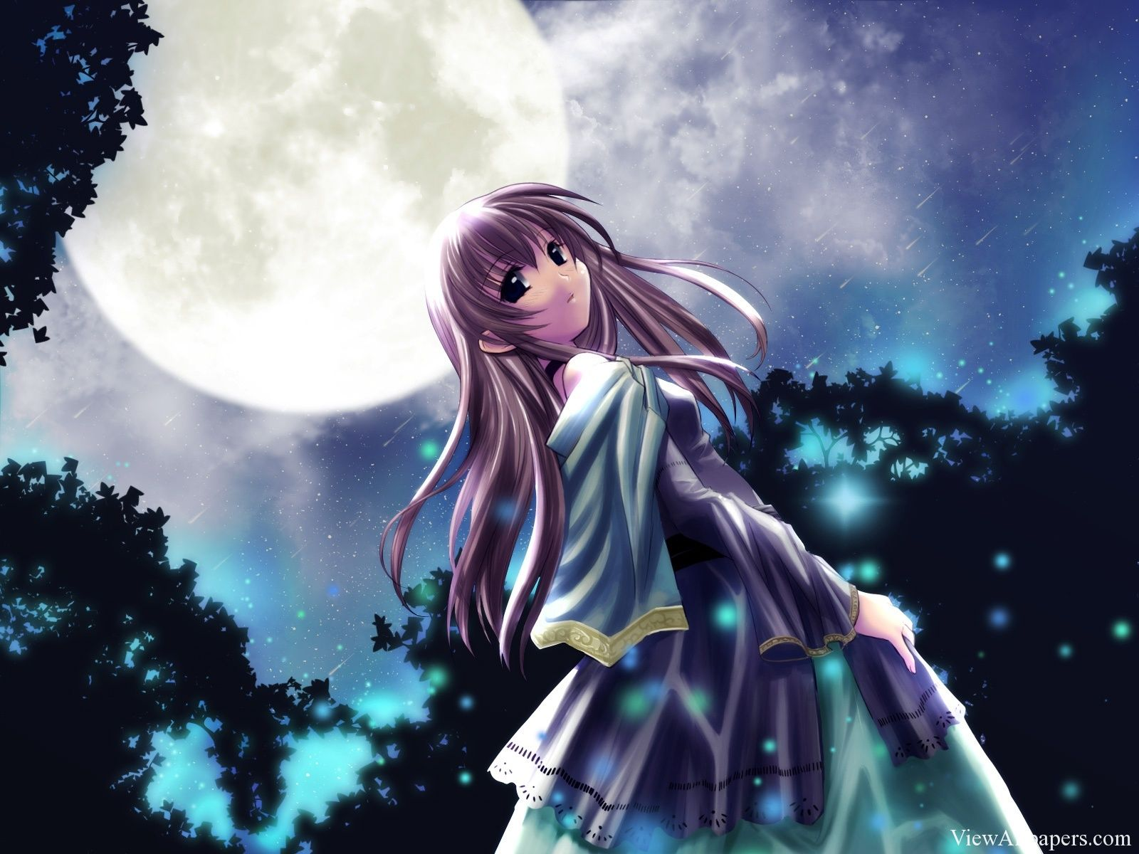 anime princess under moon wallpaper | viewallpapers | pinterest