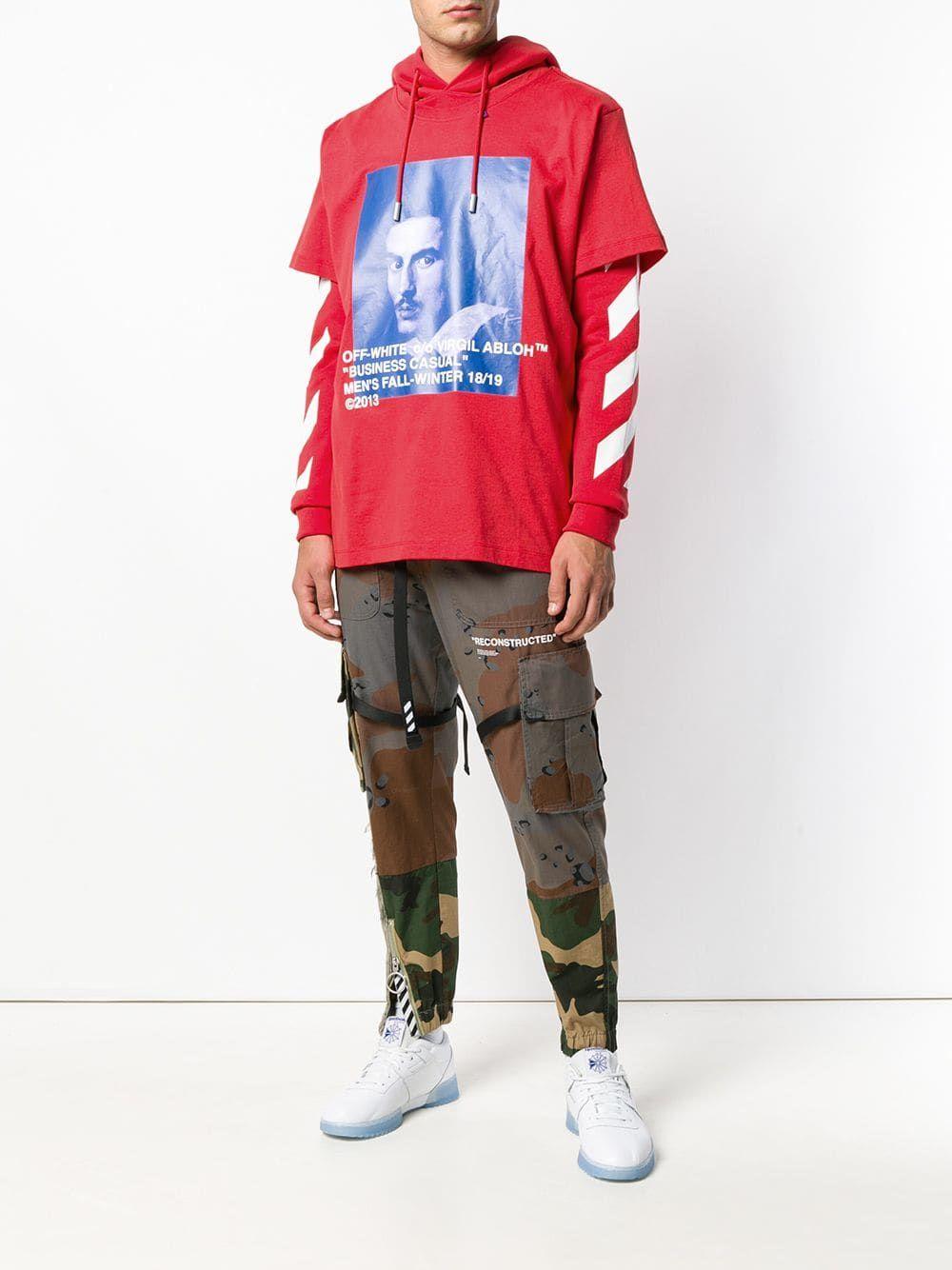 OffWhite layered printed hoodie Hoodies, Off white, Shirts