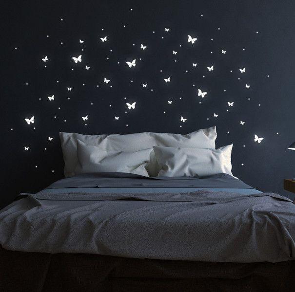 leuchtsticker schmetterlinge fluoreszierend 82stk von deinewandkunst auf. Black Bedroom Furniture Sets. Home Design Ideas