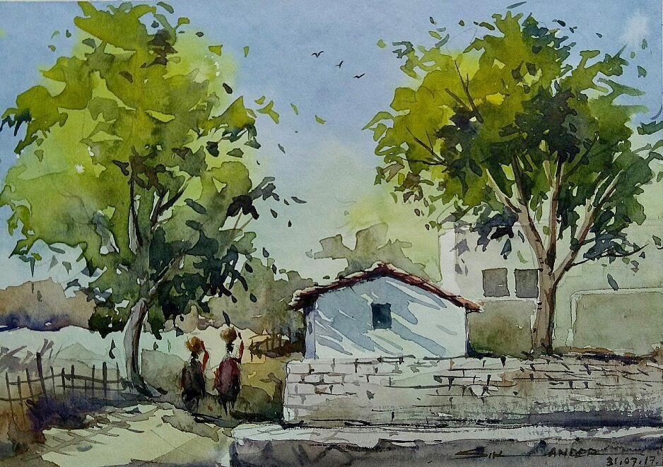 Landscape Artindia Sky Fineart Village India Chandigarh