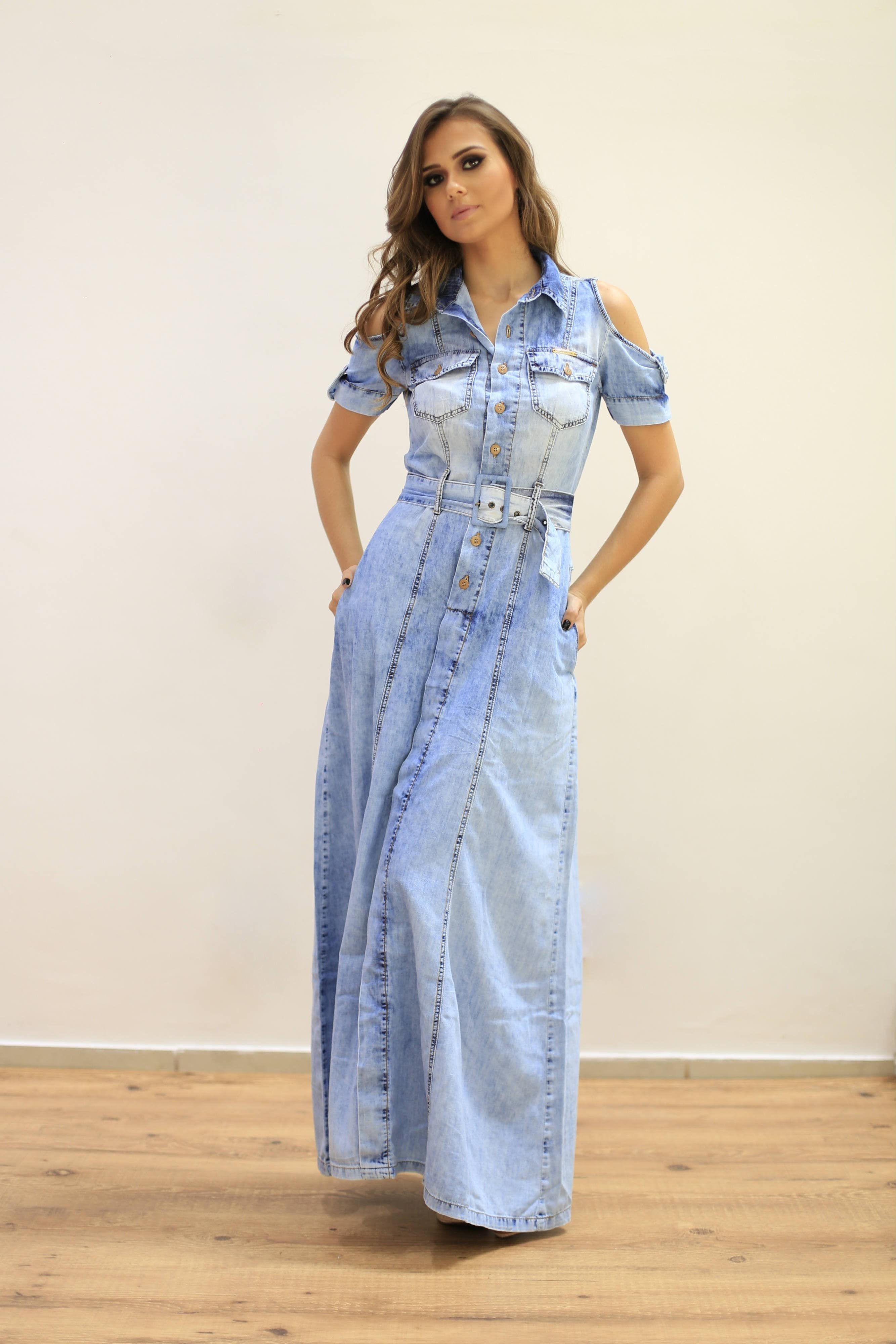 Vestidos longos simples com manga curta