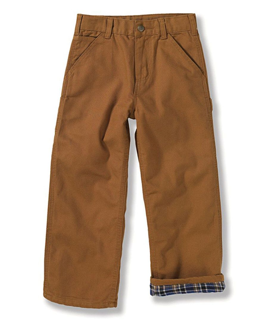 Look at this Carhartt Brown Canvas Dungaree Flannel-Lined Pants - Boys on #zulily today!