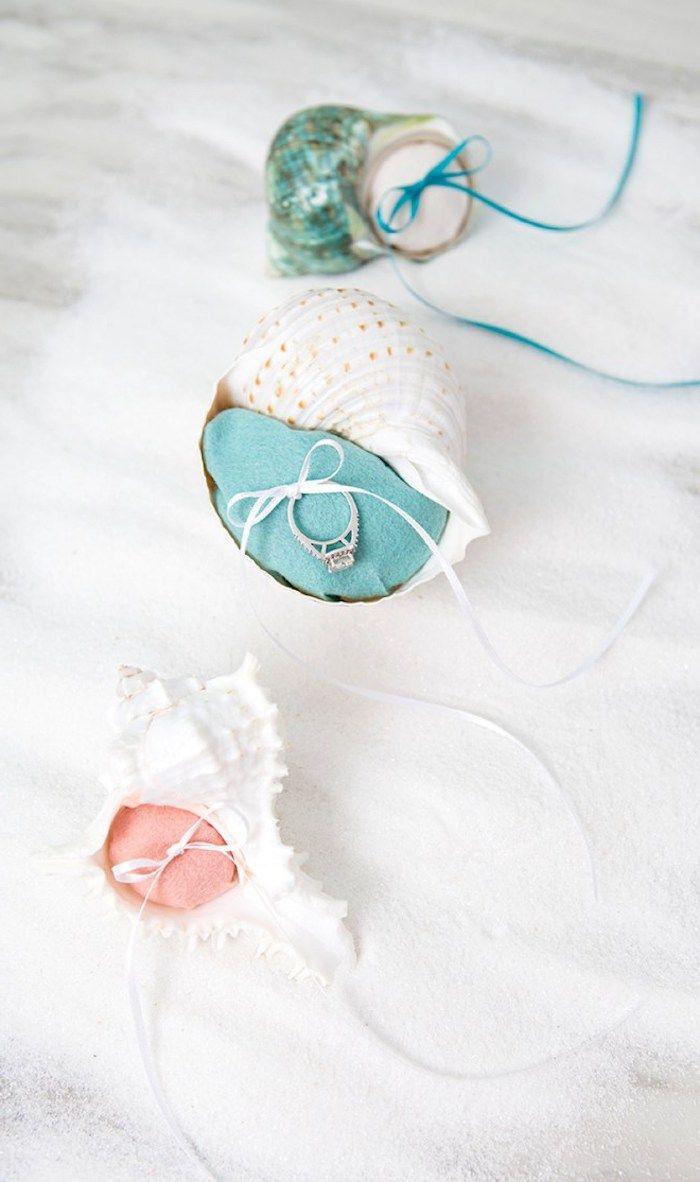 muschelbilder, selbstgemachte ringhalter aus muscheln, diy geschenke