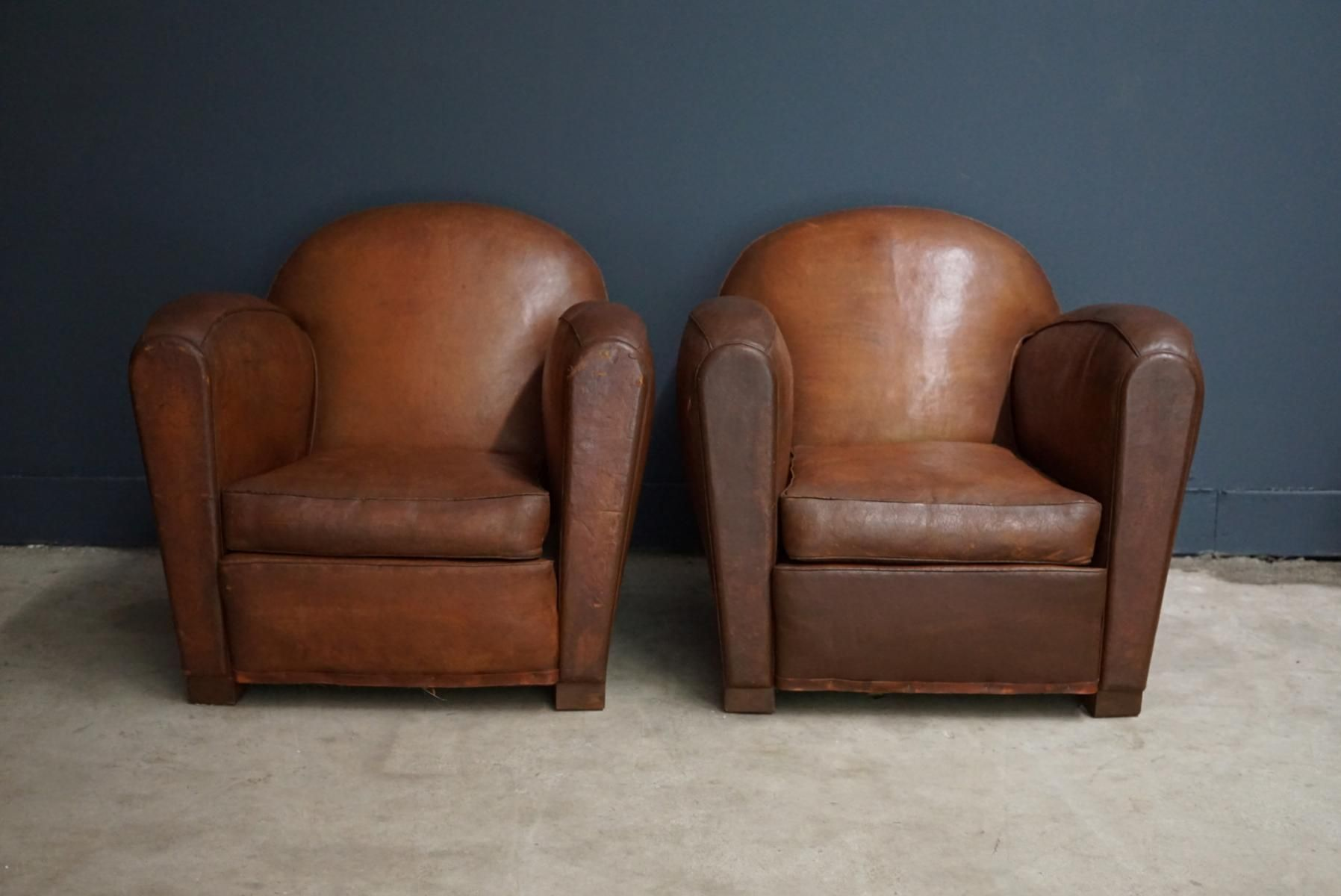 Vintage French Cognac Leather Club Chairs Set Of 2 Bei Pamono Kaufen Clubsessel Französisches Vintage Sessel