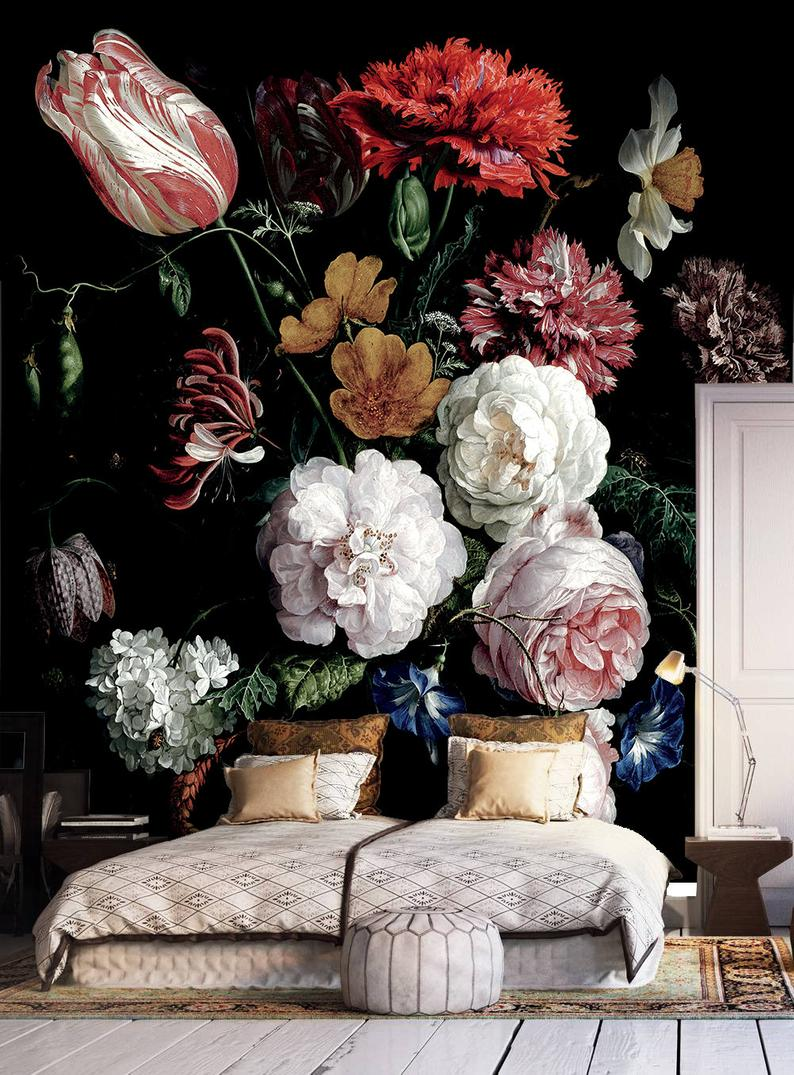Dark Floral Peel And Stick Wallpaper Dutch Flowers Oil Painting Wall Mural Still Life Flowers Wall Art Dark Flowers Dark Wall Mural In 2020 Peel And Stick Wallpaper Floral Wallpaper Flowers