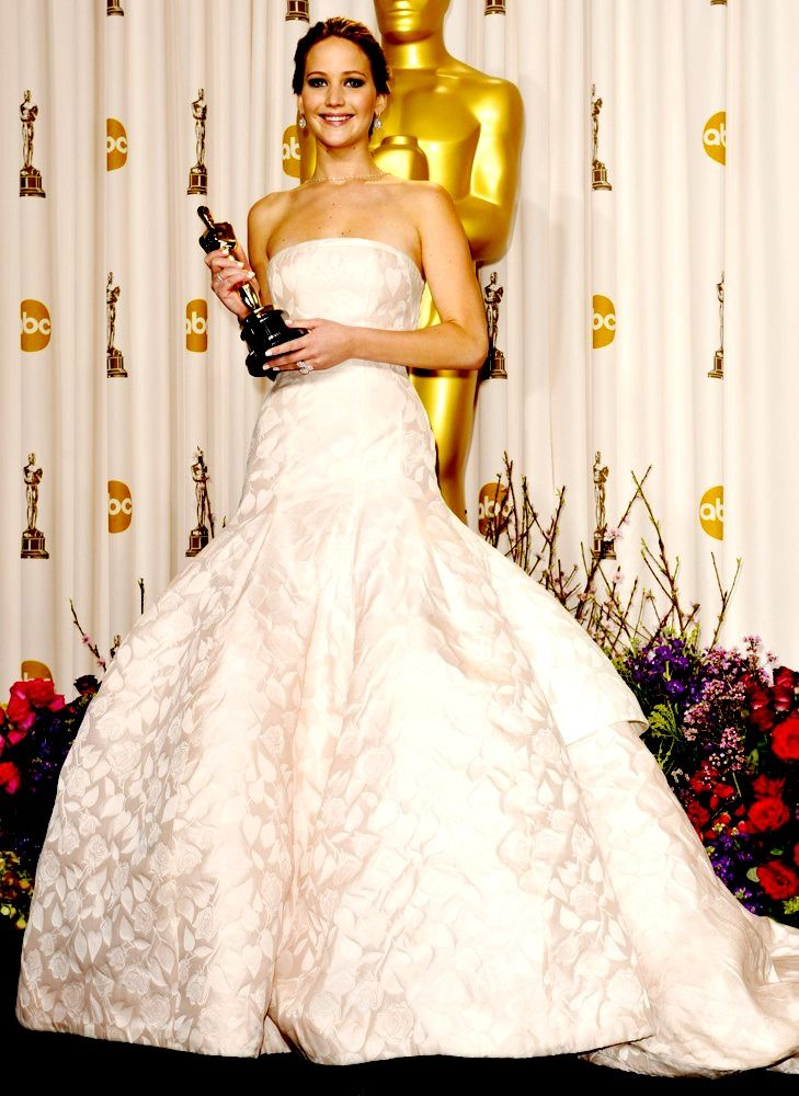 Jennifer Lawrence winning her Oscar for Silver Linings Playbook ...