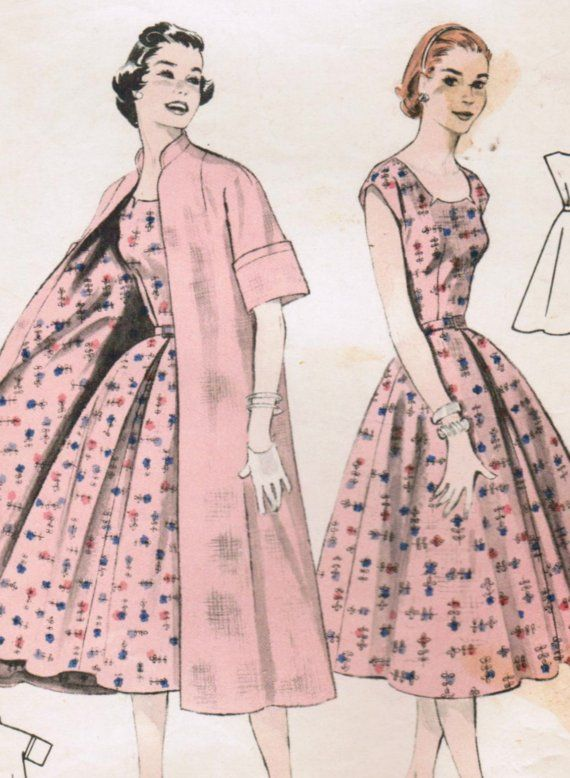 f15bb6b9d7 Vintage 1955 Butterick 7278 Sewing Pattern Misses  Dress and Coat  Coordinates Size 12 Bust 30
