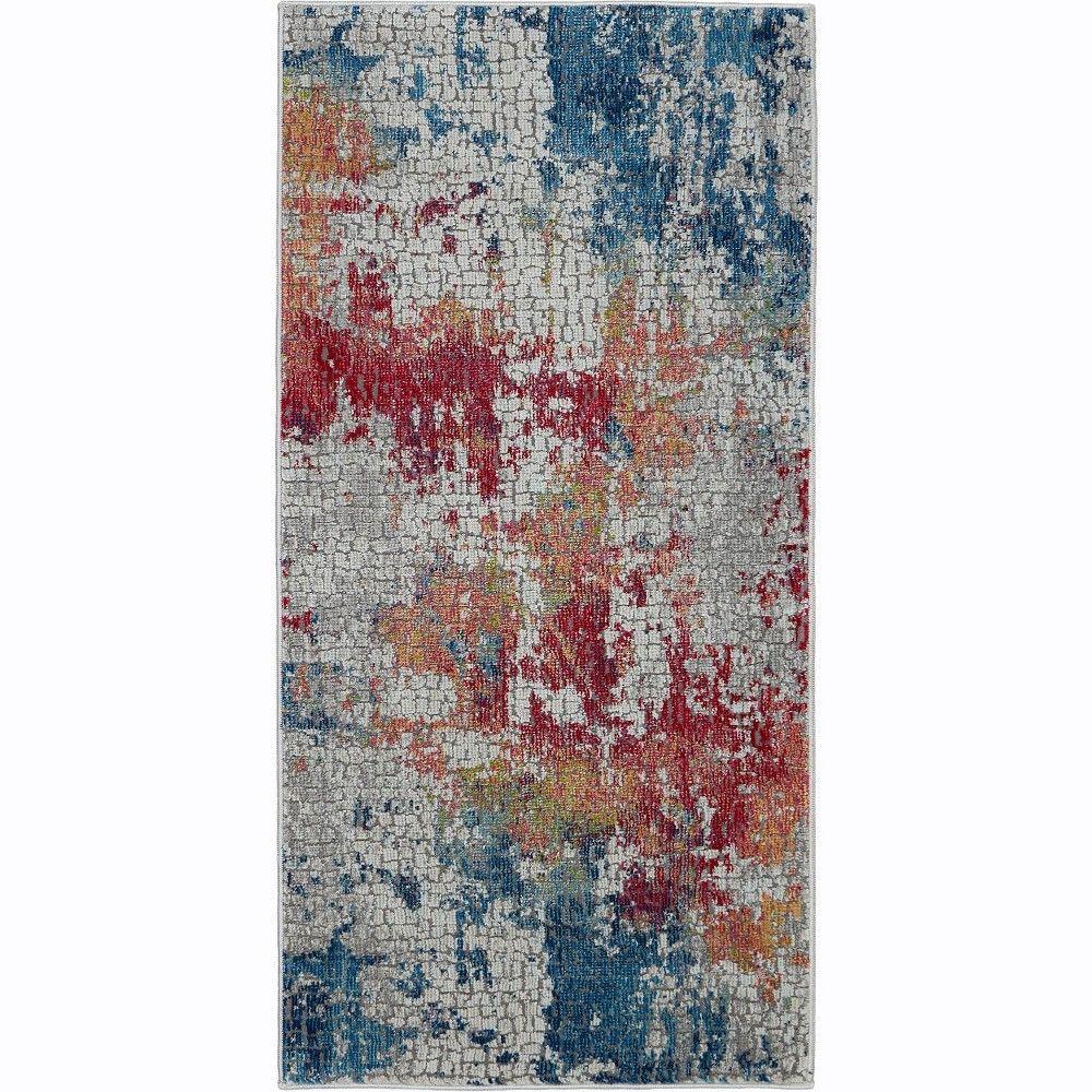 Nourison Global Vintage Glb10 Blue Red Gray Indoor Area Rug 2 X 4