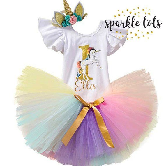 29c0b13ae2114 Personalised Pastel and Gold Unicorn Outfit - Cake Smash Outfit, girls 1st  birthday unicorn outfit, 1st birthday unicorn tutu set