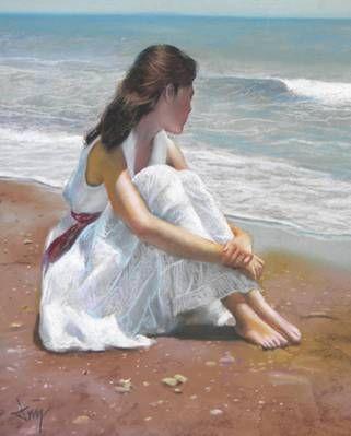 Mirando Al Mar Acuarela De Playa Arte De Playa Pinturas De Sorolla