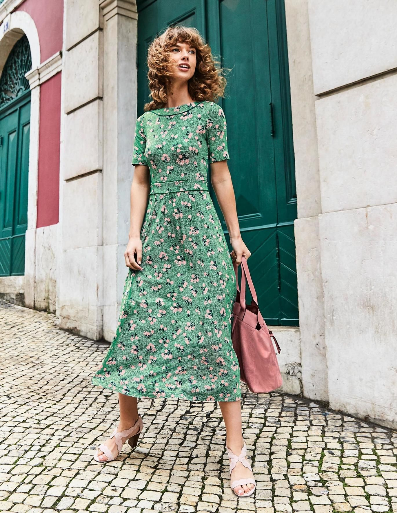 Ava Jersey Midi Dress Forest Chalky Pink Daisy Smart Day Dresses Midi Dress Street Style Fall Outfits [ 1771 x 1370 Pixel ]