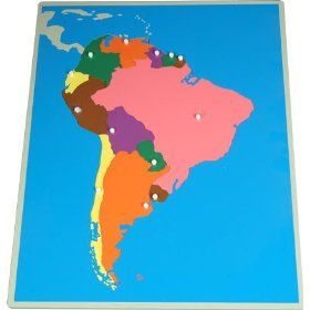 Montessori wooden puzzle of south america with blank colored tiles montessori wooden puzzle of south america with blank colored tiles and tiles with the country names gumiabroncs Image collections