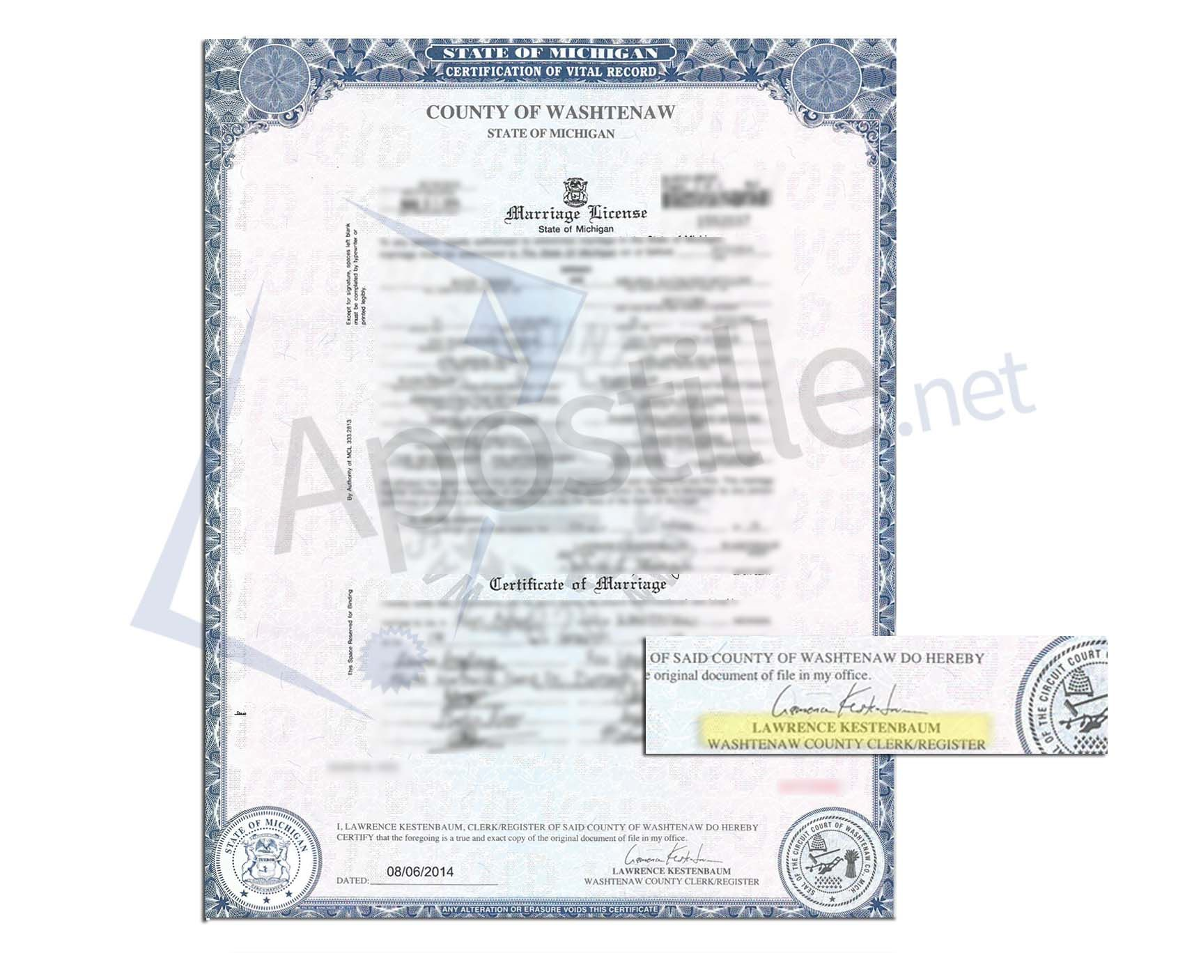 State Of Michigan Marriage Certificate Issued By Lawrence