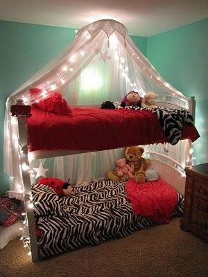 Going to attempt something like this lighted bed canopy for my college dorm room just with no bunk beds. & Obvously too girly. But if I do the shower tension rod curtain on ...