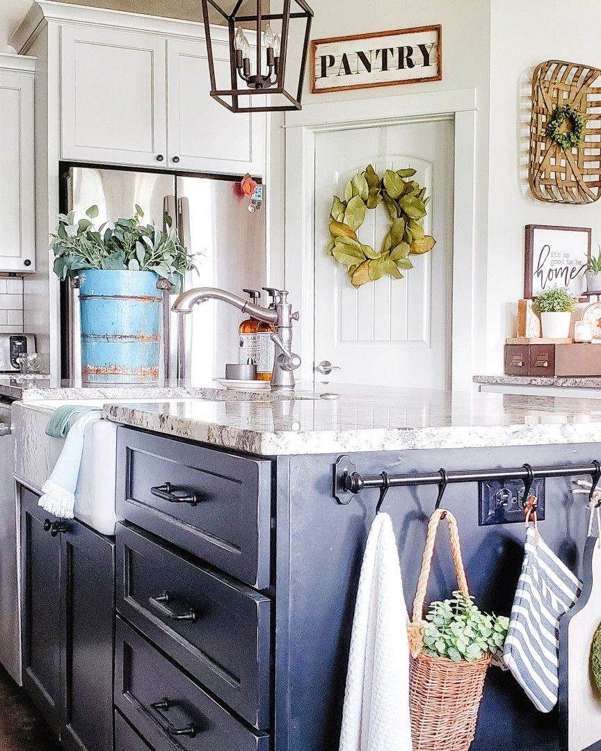 farmhouse kitchen black and white kitchen painted distressed cabinets vintage finds kitchen isl on farmhouse kitchen black and white id=43445