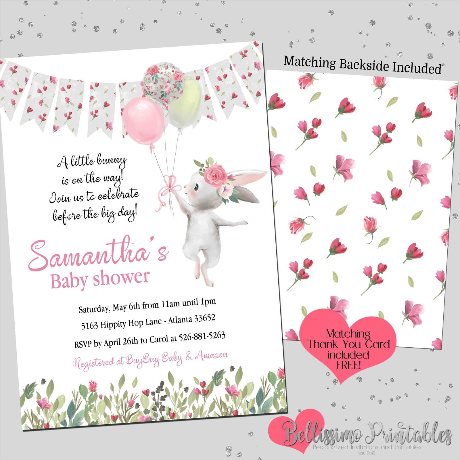Printable Gender Reveal Party Baby Shower Decoration and Ideas Bunny Thank You Cards Instant Download