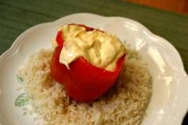 Hot Stuffed Bell Peppers. Photo by bob perry