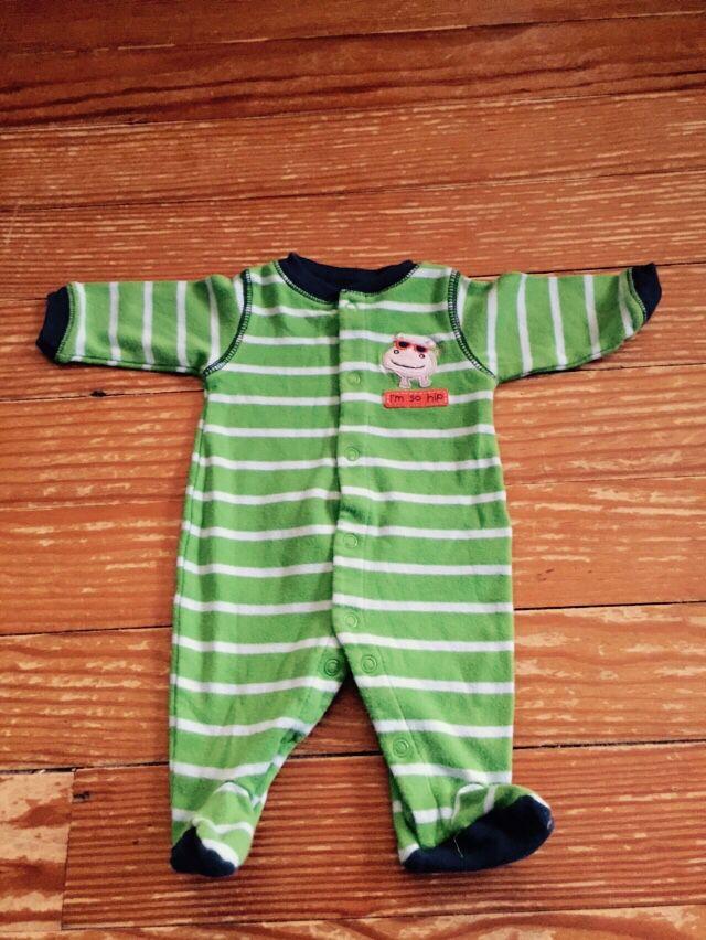 "Carter's Child of Mine newborn green ""I'm so hip"" hippo sleeper"