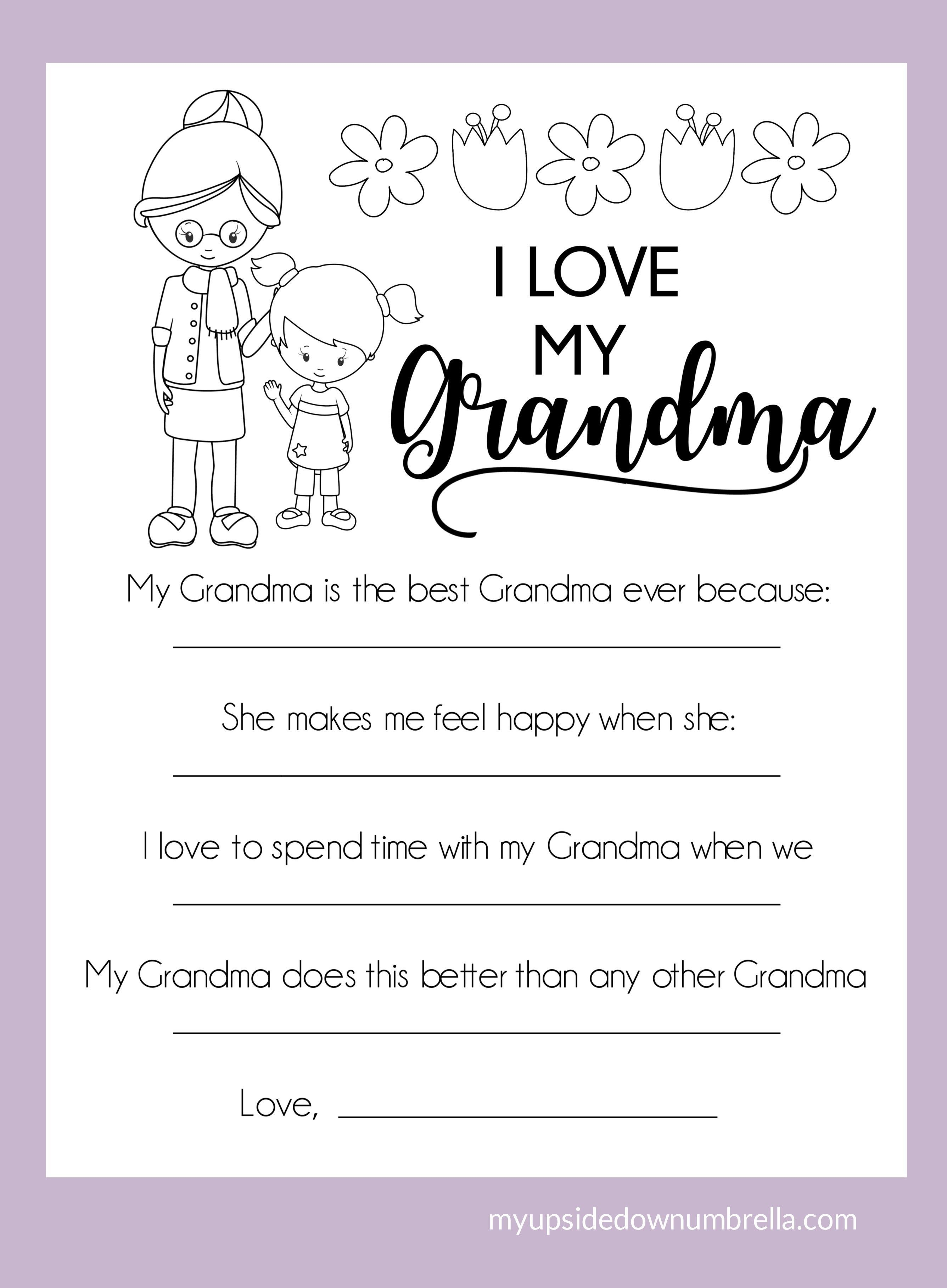 All About My Mom Mother S Day Printable My Upside Down Umbrella Birthday Gifts For Grandma Grandma Birthday Card Happy Birthday Grandma