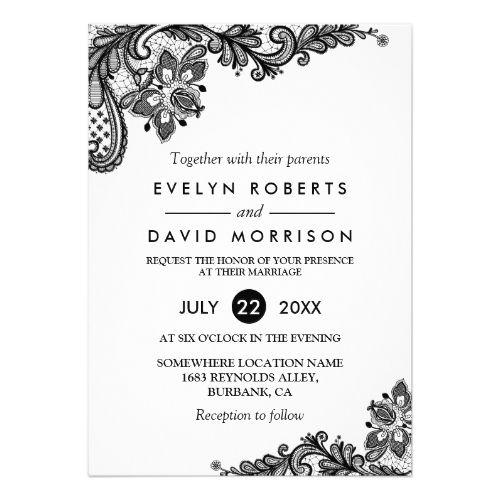 classy black white lace pattern formal wedding invitation black