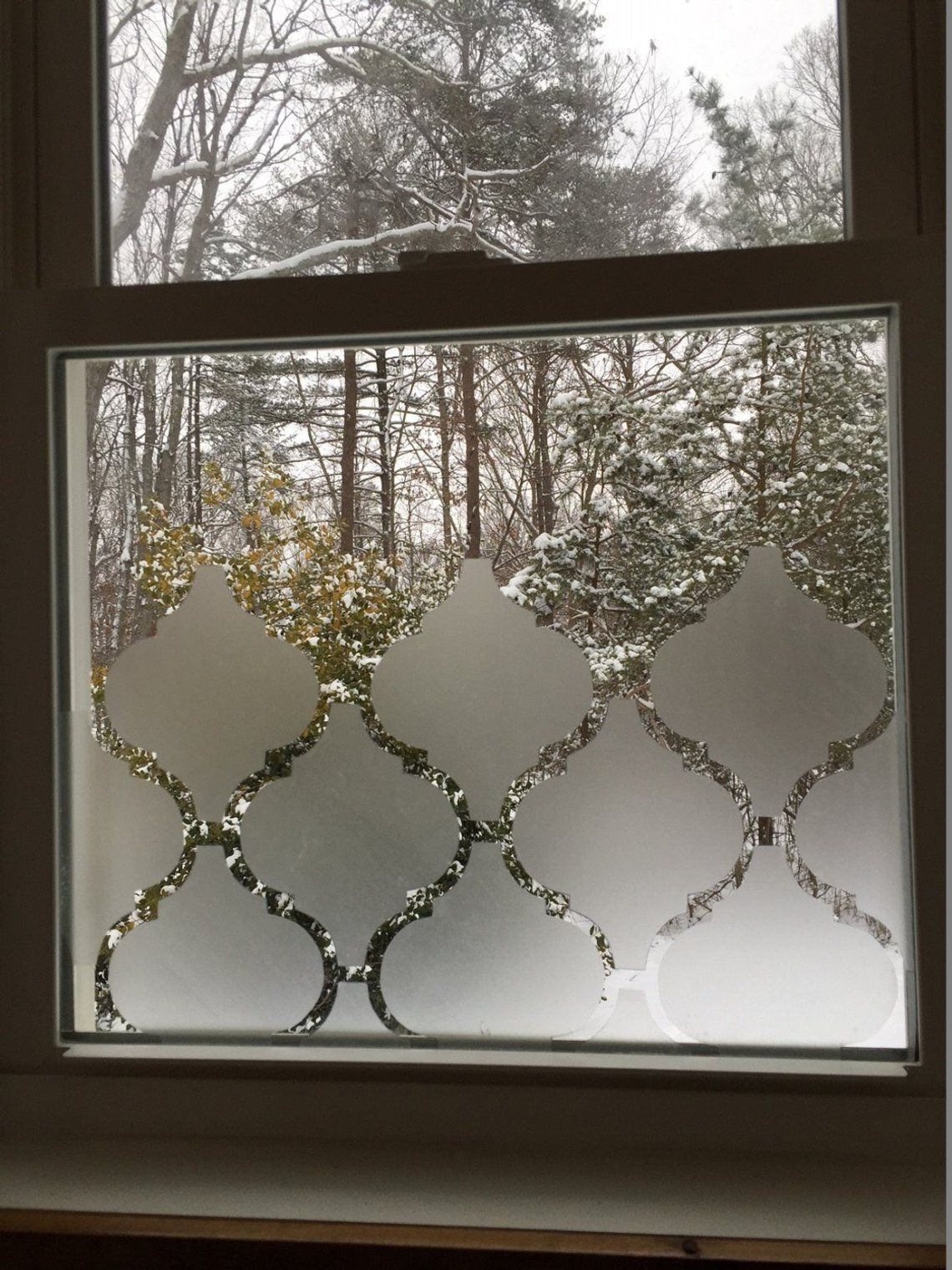 Frosted Moroccan Privacy Window Cover Adhesive Individual Pieces ...
