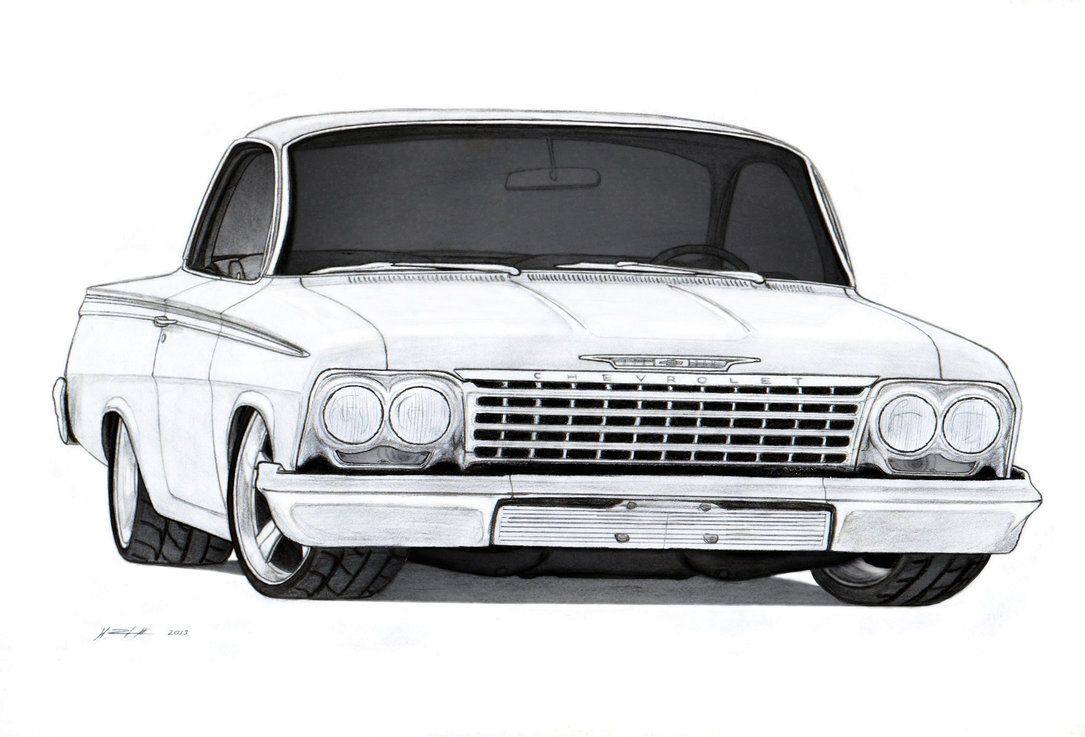 1962 Chevrolet Bel Air Sport Coupe Drawing by Vertualissimo on ...