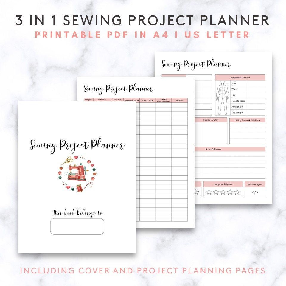 Sewing Planner PDF Project Planner Pages Craft Journal