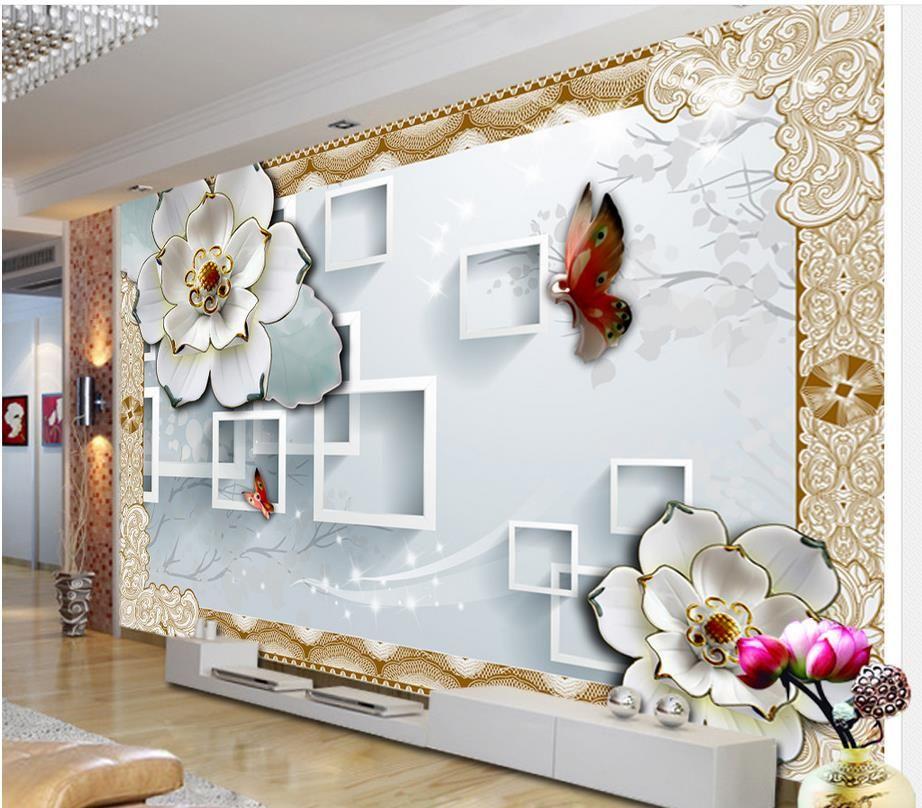 3d Block Tv Backdrop Embossed Flowers Papel Parede Mural Wallpaper