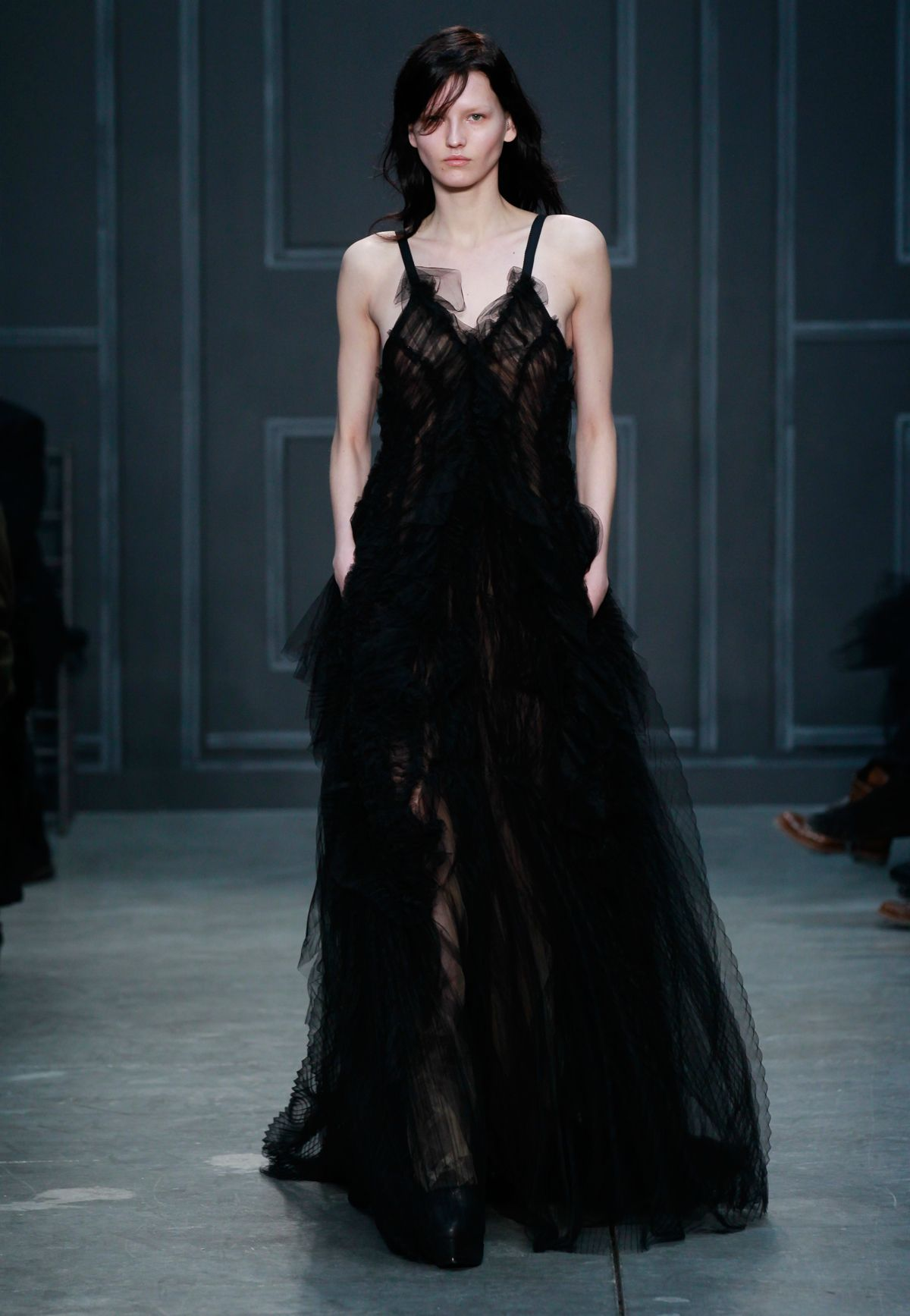 Look black pleated and gathered silk tulle gown with vneckline