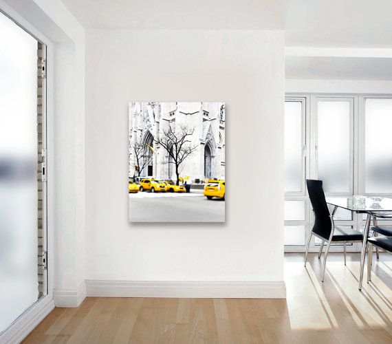 Canvas wall art new york yellow taxi black white by raceytay