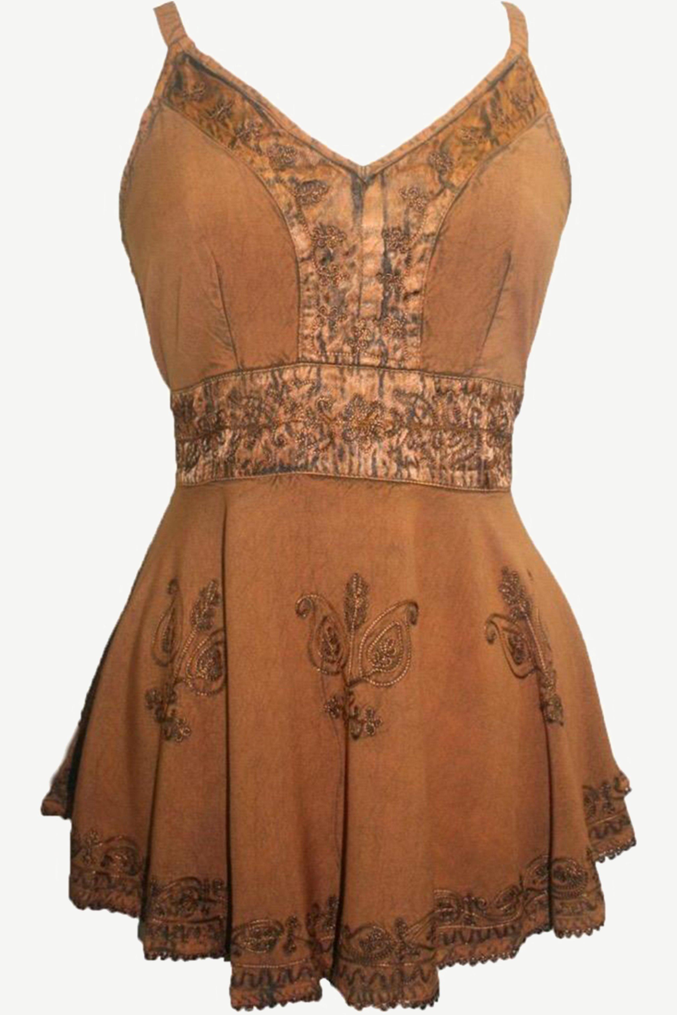 121 B Spaghetti Strap Medieval Gypsy Embroidered Tank Top #gypsy