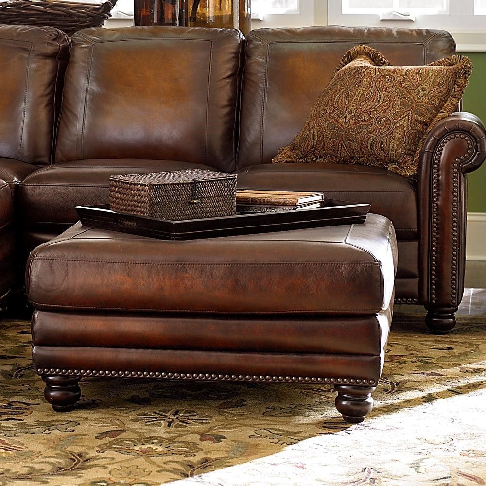 rectangle classic brown leather ottoman coffee table designs ideas