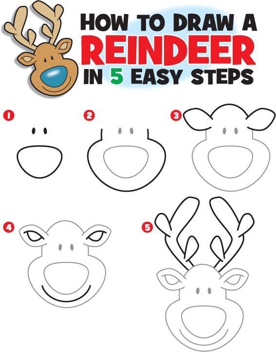 How to draw a reindeer more