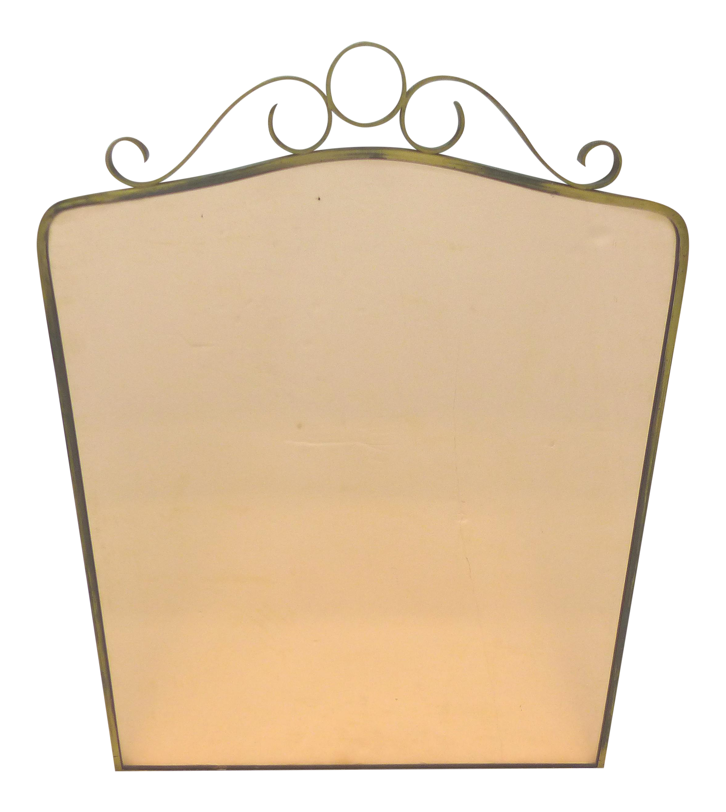 Art Deco Brass Peach Glass Wall Mirror | Art deco, Deco wall and Glass