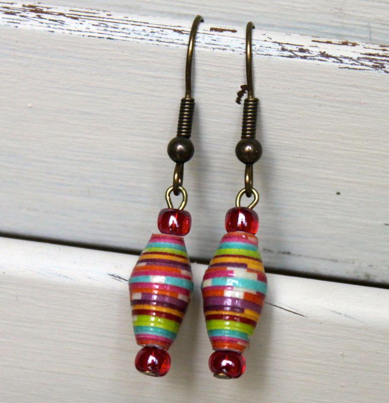 Paper Bead Earrings -