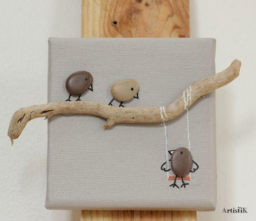 Tableau galets oiseaux bois flott fond beige la for Decoration bois flotte galet