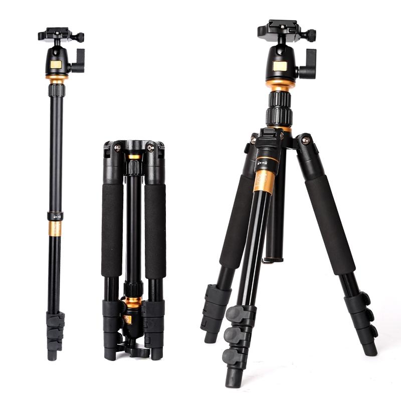 59.50$  Watch now - http://alifsu.worldwells.pw/go.php?t=32682887068 - NEW QZSD Q555 professional portable lock lever aluminum tripod Monopod Ball Head Universal For Nikon For Canon For Sony DSLR SLR