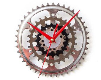 Bike Wall Clock Steampunk Wall Clock Cyclist Gift by ClockLight