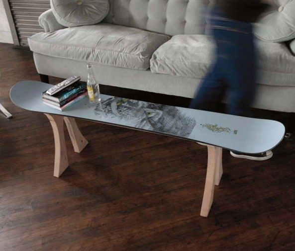 news how to make a table out of an old snowboard. Black Bedroom Furniture Sets. Home Design Ideas