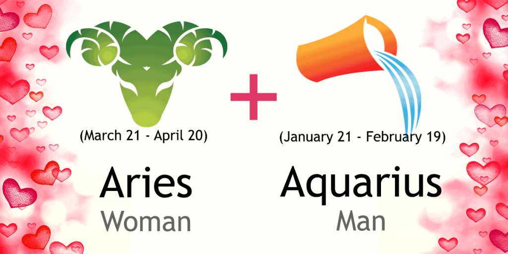 Love match compatibility between Aries woman and Aquarius