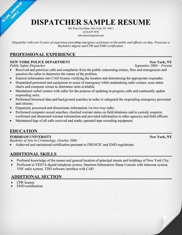 Dispatcher Resume (resumecompanion) 911 Dispatch Pinterest - dispatcher sample resumes