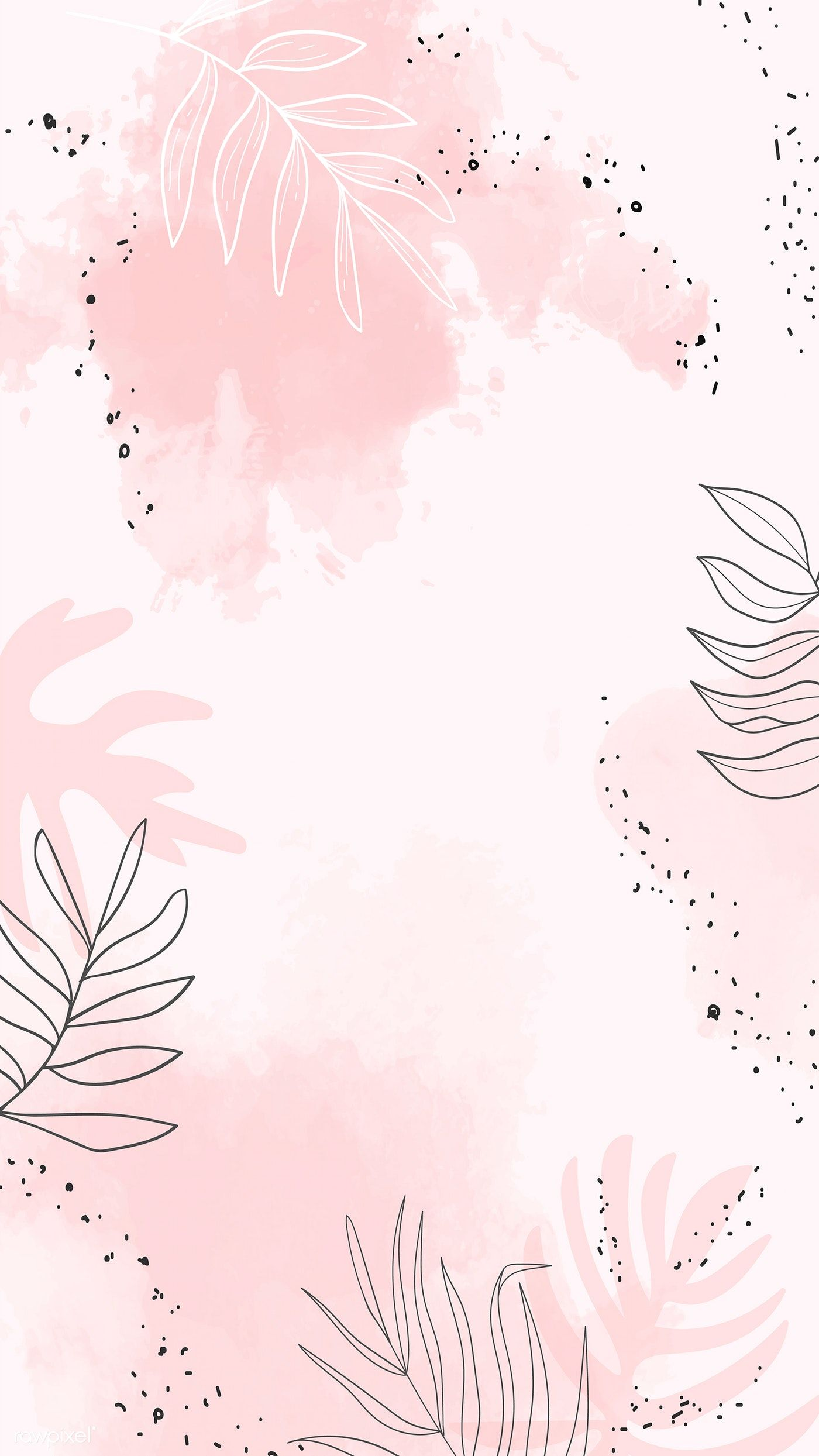 Download Premium Vector Of Pink Leafy Watercolor Mobile Phone