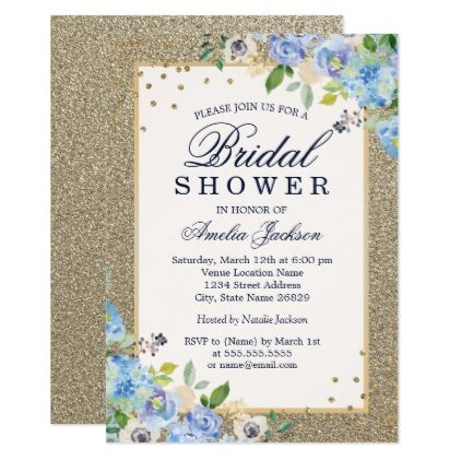 Blue gold floral sparkle bridal shower card invitations blue gold floral sparkle bridal shower card invitations personalize custom special event invitation idea style stopboris Choice Image