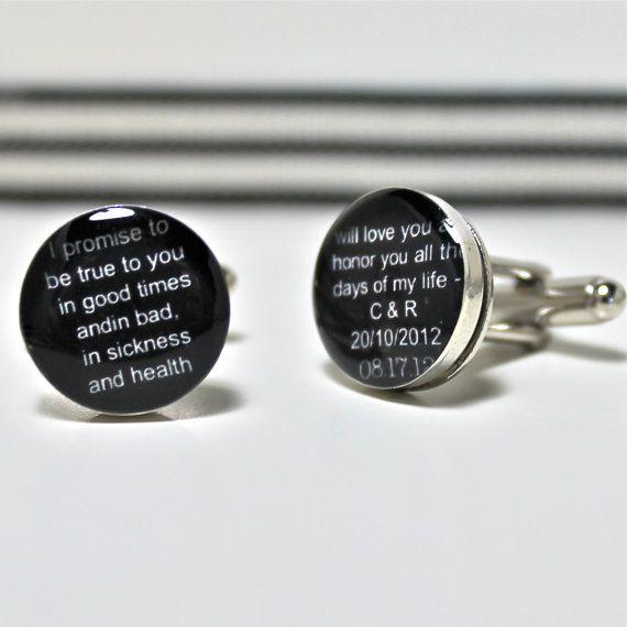 Black And White Custom Wedding Vow Cufflinks By Dlkdesigns